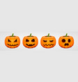 set halloween pumpkins funny faces autumn vector image vector image