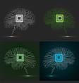 set neon brain cpu circuit board abstract vector image vector image