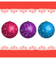 set of christmas balls with snowflakes isolated vector image vector image