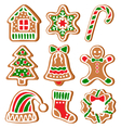 set of gingerbread christmas cookies isolated vector image