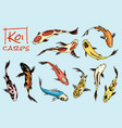set of koi carps japanese fish colored korean vector image vector image