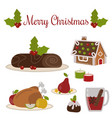set of traditional christmas food and desserts vector image
