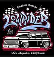 shirt design hip hop graffiti lowrider truck vector image