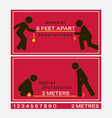 signs marked with appropriate physical distance vector image vector image