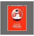 snowman in christmas ball we wish you very happy vector image