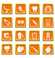 stomatology dental icons set orange square vector image vector image