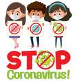 stop coronavirus logo with three teenagers vector image vector image