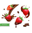 strawberry in chocolate splash realistic vector image vector image