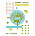 summer art poster with a flower and grometric vector image