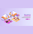 Summer music festival isometric background