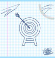 target with arrow line sketch icon isolated on vector image vector image