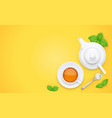 tea cup and green leaf vector image