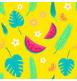 tropical fruits and leafes seamless pattern vector image