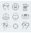 virtual reality design set vr thin line icon vector image vector image