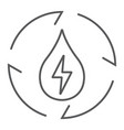 water energy thin line icon ecology and energy vector image vector image