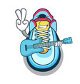 with guitar cartoon sneaker with rubber toe vector image