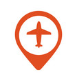 a map mark icon with a plane vector image