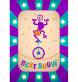Circle poster purple with monkey vector image