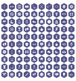 100 sport accessories icons hexagon purple vector image vector image