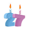 27 years birthday number with festive candle for vector image vector image
