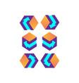 3d cube purple with arrow logo design vector image vector image