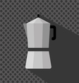 A silver coffee maker with a handle and shadow vector image vector image