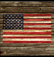 accurate usa flag on old rustic timber wall vector image
