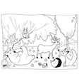 animals in wood black and white vector image
