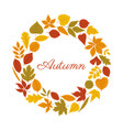 autumn round wreath in warm colors white vector image