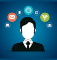 avatar man with social network icons vector image vector image