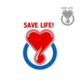 Blood donation symbol with heart and blood drop vector image