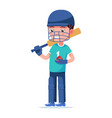 boy cricket player stands with a bat and a ball vector image vector image