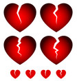 broken hearts dislike sadness shattered hearts vector image