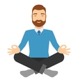 Businessman meditating in lotus pose vector image