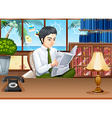 Businessman reading newspapers in the office vector image vector image