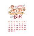calendar for october 2 0 1 8 hand drawn vector image vector image