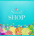 card with color lollypop border vector image