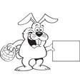 Cartoon Easter bunny holding a sign vector image vector image
