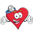 Cartoon heart with thumbs up vector image