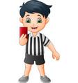 cartoon little boy holding a mobile phone vector image
