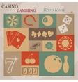 Casino and Gambling Flat Retro Icons vector image vector image