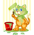 Cat spilling paint vector image vector image