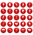 country map icon set vetor red vector image