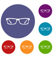 eye glasses icons set vector image vector image