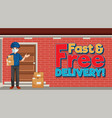 fast and free delivery logo with courier vector image