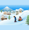 father pulling his son riding on a sled vector image vector image