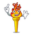 Finger torch mascot cartoon style