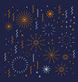 fireworks lineal editable set with petard stars vector image