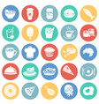 food and drinks set on color circles background vector image
