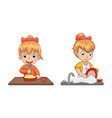 girl chores and life set vector image vector image